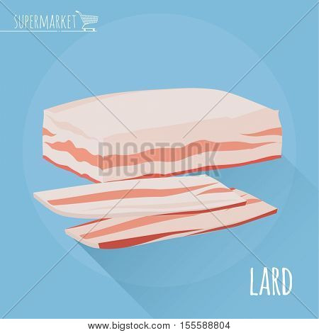 Flat design sliced lard vector icon on light blue background with long shadow.