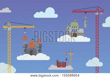 Building castles in the sky - visions and aspirations concept vector illustration