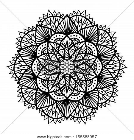 Outline Mandala For Coloring Book. Decorative Round Ornament. Anti-stress Therapy Pattern. Weave Des