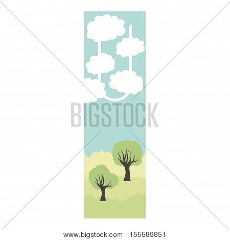 Scrapbook with landscape icon. Card paper label scrapbooking and decoration theme. Isolated design. Vector illustration