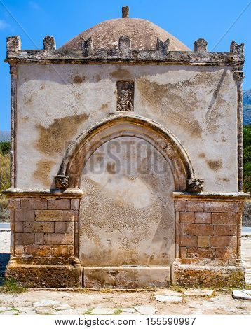 Chapel of Saint Crescentia in San Vito lo Capo Sicily. Italy. Small square chapel built in the thirteenth century in honor of the nurse of St. Vitus St. Crescentia