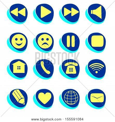 Symbols connection e-mail play pause phone communication set. Simple Internet button beauty shape. Vector illustration for web design. A set of yellow and blue symbol on white background