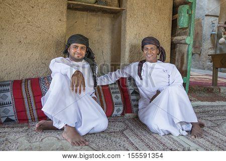 Nizwa Oman November 3rd 2016: Two Omani men in a local house