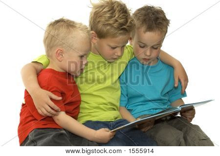 Three Reading Boys