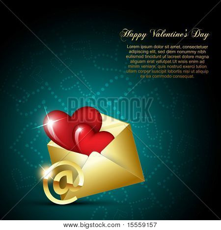 poster of vector heart design on mail envelop