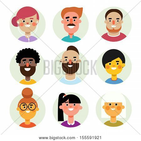 Set of vector avatars icons men and women in circular background