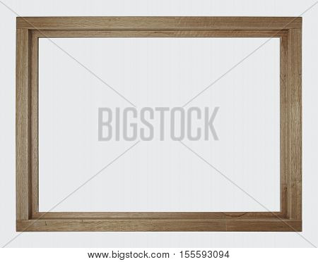 New and unpainted brown wooden window frame, isolated. No glass in frame.