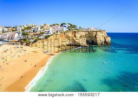 Beautiful Beach In Carvoeiro, Algarve, Portugal