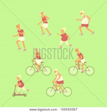 Healthy active lifestyle retiree for grandparents day infographic. Set Elderly people characters jogging and cycling. Sport for grandparents family Seniors isolated. Vector illustration