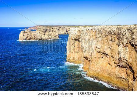 Beautiful cliffs of Saint Vincent Cape Algarve Portugal
