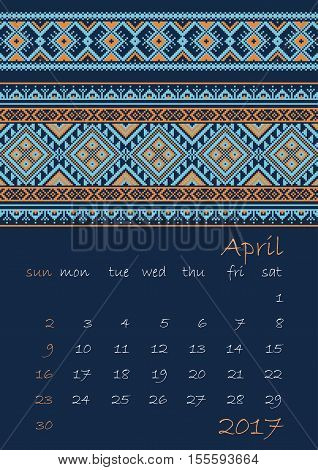 2017 Calendar planner with ethnic cross-stitch ornament on dark blue background Week starts on Sunday Vector illustration. From collection of Balto-Slavic ornaments