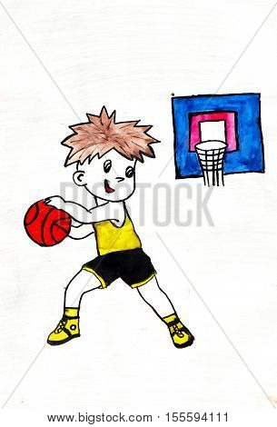 Boy playing basketball. Drawing on paper. White background