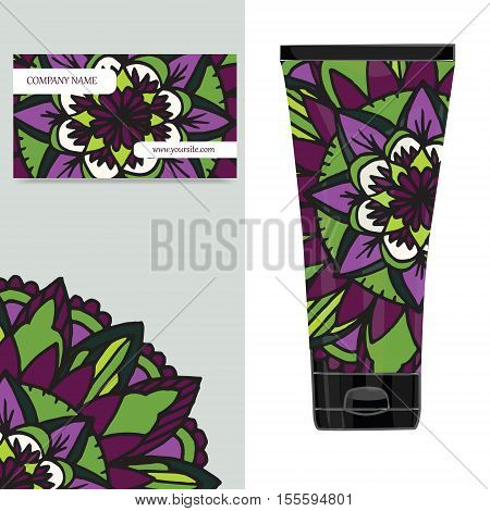 Cream tube pattern with mandala. Vector illustration. Visit card packaging for organic cosmetic medallion poster