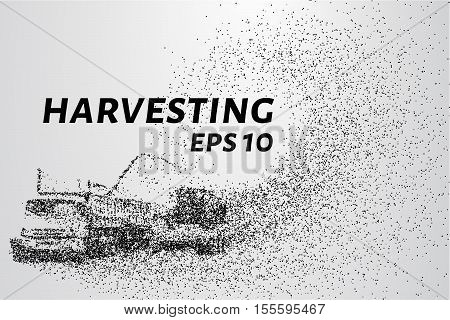 Harvesting of the particles. The harvest consists of small dots and circles.