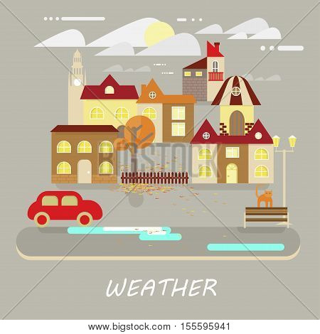 Autumn weather colorful landscape banner. Its cloudy, sunny. Small town landscape in flat style. Vector illustration