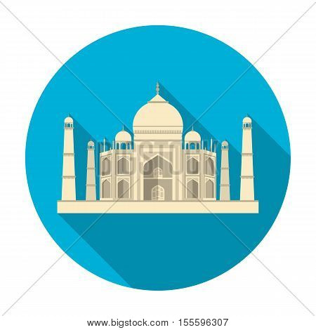 Taj Mahal icon in flat style isolated on white background. India symbol vector illustration.