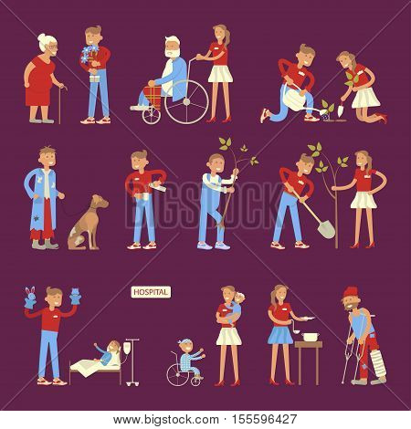 Set of volunteers characters in flat design. Young people planted plants, trees,  helping ill kids and seniors, feeding homeless men. Vector illustration eps 10