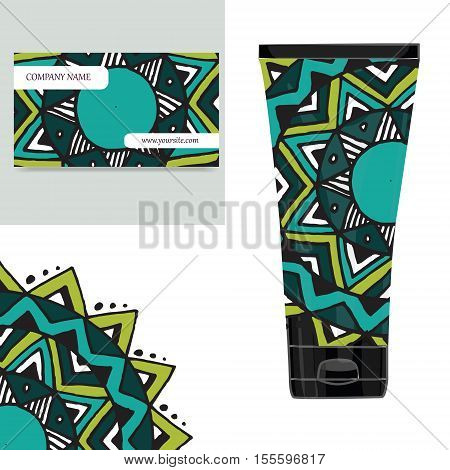 Cream tube pattern with mandala. Vector illustration. Visit card, packaging for organic cosmetic, medallion