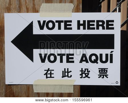Sign at the voting site in New York