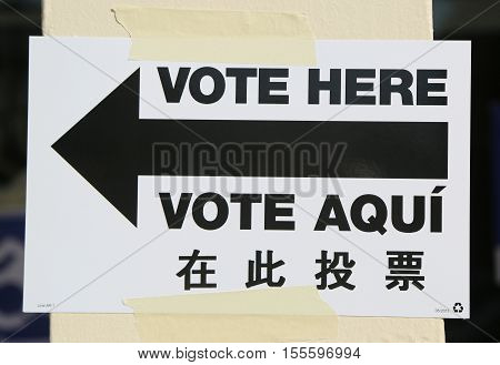 Sign at the voting site in New York at election day 2016