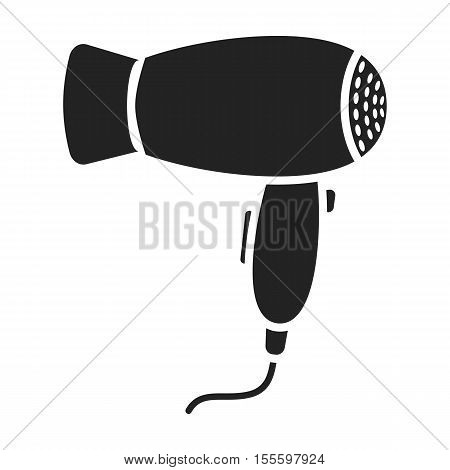 Hair dryer icon in black style isolated on white background. Hairdressery symbol vector illustration.