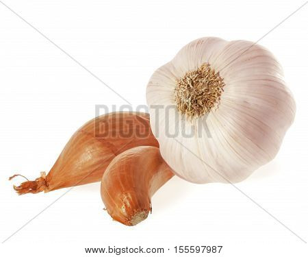 Shallot Onions and Garlic. Isolated on white background.