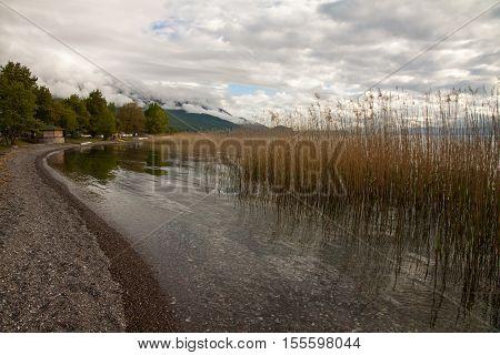 Beautiful cloudscape over lake ohrid in Macedonia