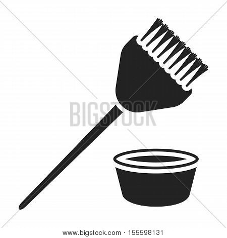 Hair coloring brush icon in black style isolated on white background. Hairdressery symbol vector illustration.