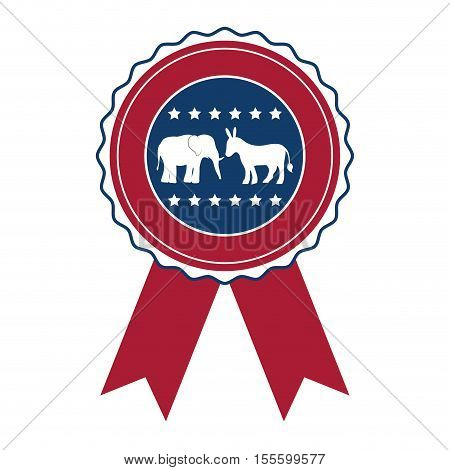 Donkey and elephant inside seal stamp icon. Vote president election government  and campaign theme. Isolated design. Vector illustration