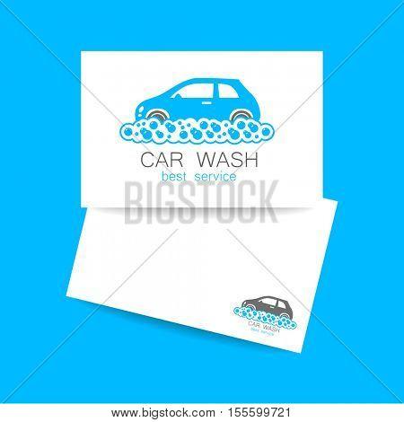 Car wash logo template. Identity concept car wash service. Business cards. Vector illustration.