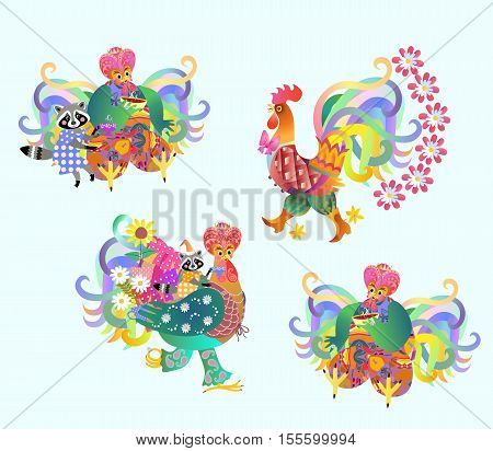 Festive vector set of cute roosters and raccoons, Chinese new year. Teatime.