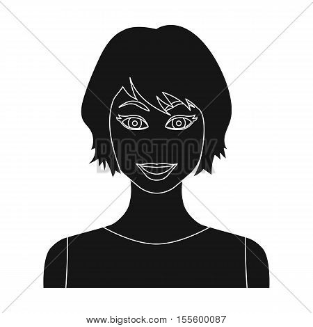 Black hair woman icon in black style isolated on white background. Woman symbol vector illustration.