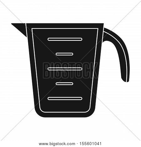Measuring cup icon in black style isolated on white background. Kitchen symbol vector illustration.