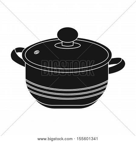 Stockpot icon in black style isolated on white background. Kitchen symbol vector illustration.