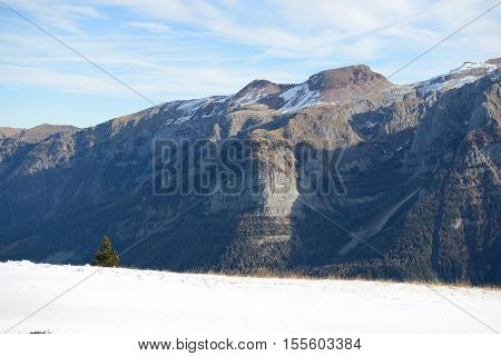 The view on Dolomiti mountains and ski Madonna di Campiglio Italy