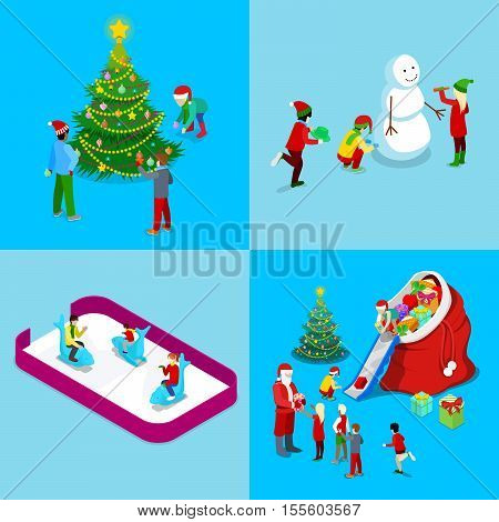 Merry Christmas Isometric Greeting Card Set. Santa with Gifts, Christmas Tree with Children, Ice Rink. Vector 3d flat illustration