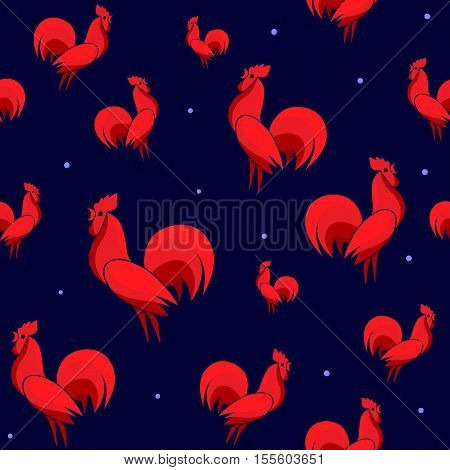 Vector illustration of Red Roosters seamless pattern with dots. Cock isolated on dark background. Endless backdrop for new year 2017