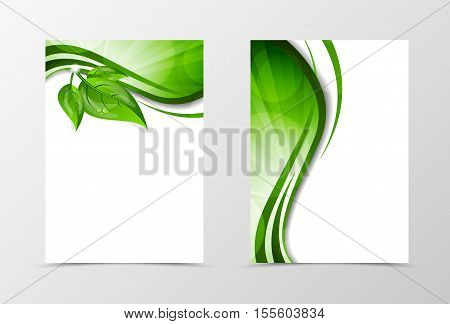 Front and back wave flyer template design. Abstract template with green lines and leaves in floral style. Vector illustration