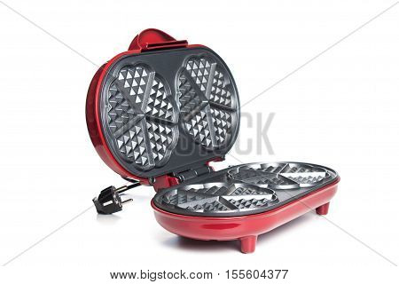 Domestic Generic Electric Panini Maker, Angled View With The Hinged Lid Partially Open To Reveal The