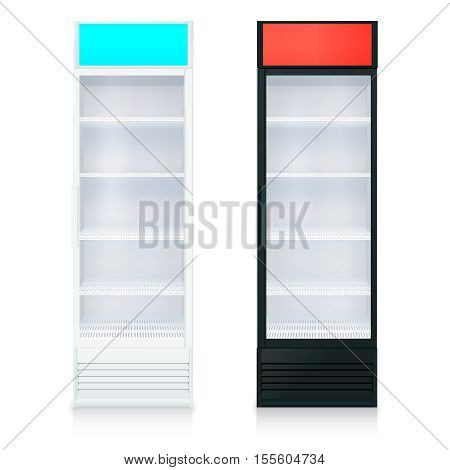Upright empty fridges template with glass door and shelves on white background isolated vector illustration