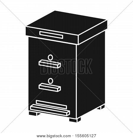 Beehive icon in black style isolated on white background. Apiary symbol vector illustration