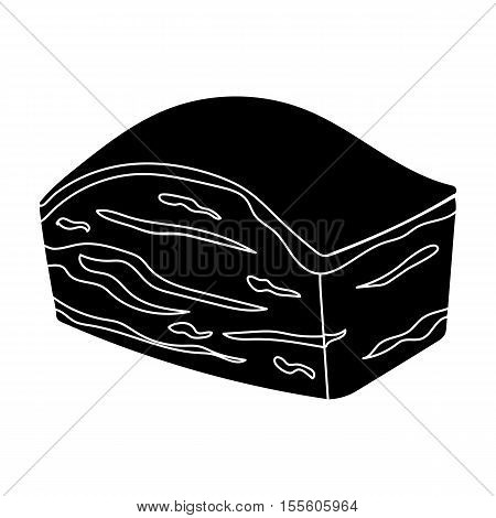 Pork belly icon in black style isolated on white background. Meats symbol vector illustration