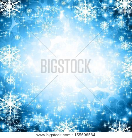 snowflakes and stars blue shining descending on background