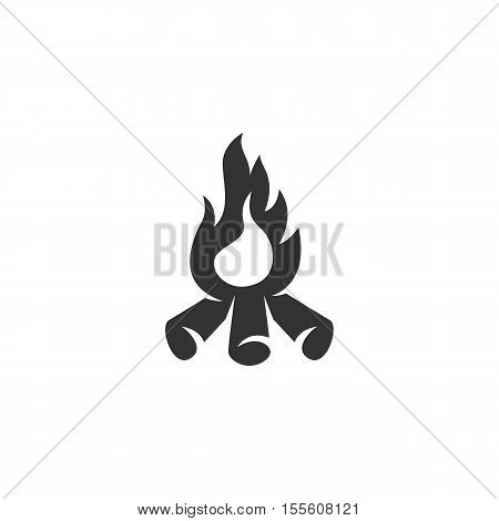Bonfire logo silhouette design template isolated on a white background. Simple concept icon for web, mobile and infographics. Abstract symbol, sign, pictogram, illustration - stock vector
