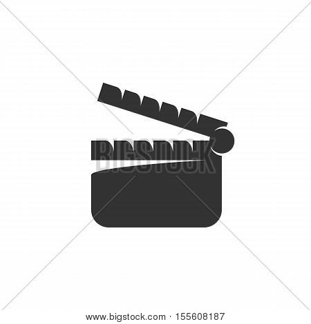 Clapper board icon isolated on a white background. Logo silhouette design template. Simple symbol concept in flat style. Abstract sign, pictogram for web, mobile and infographics - stock vector