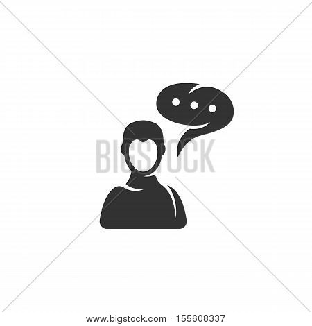Talk Icon isolated on a white background. Talk Logo design vector template. Simple Logotype concept icon. Symbol, sign, pictogram, illustration - stock vector