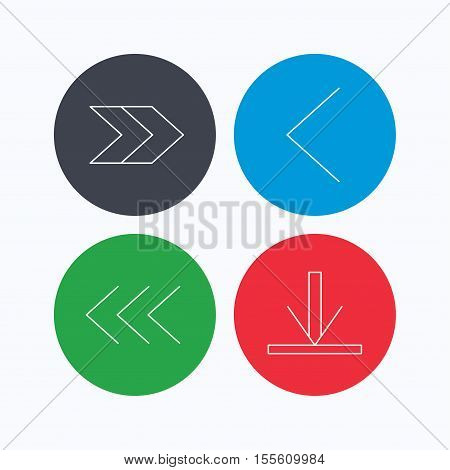 Arrows icons. Download, left and right direction linear signs. Next, back arrows flat line icons. Linear icons on colored buttons. Flat web symbols. Vector