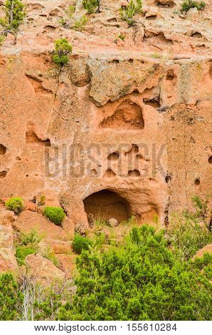Tsankawi cave dwellings in cliffs at Bandelier National Monument