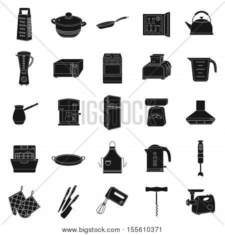 Kitchen set icons in black style. Big collection of kitchen vector symbol stock