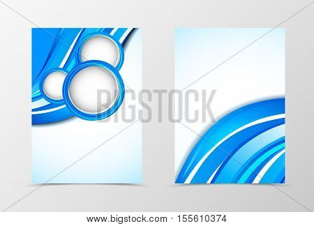 Front and back dynamic flyer template design. Abstract template with blue circles and waves in geometric style. Vector illustration